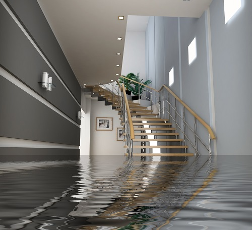 Water in a home with staircase