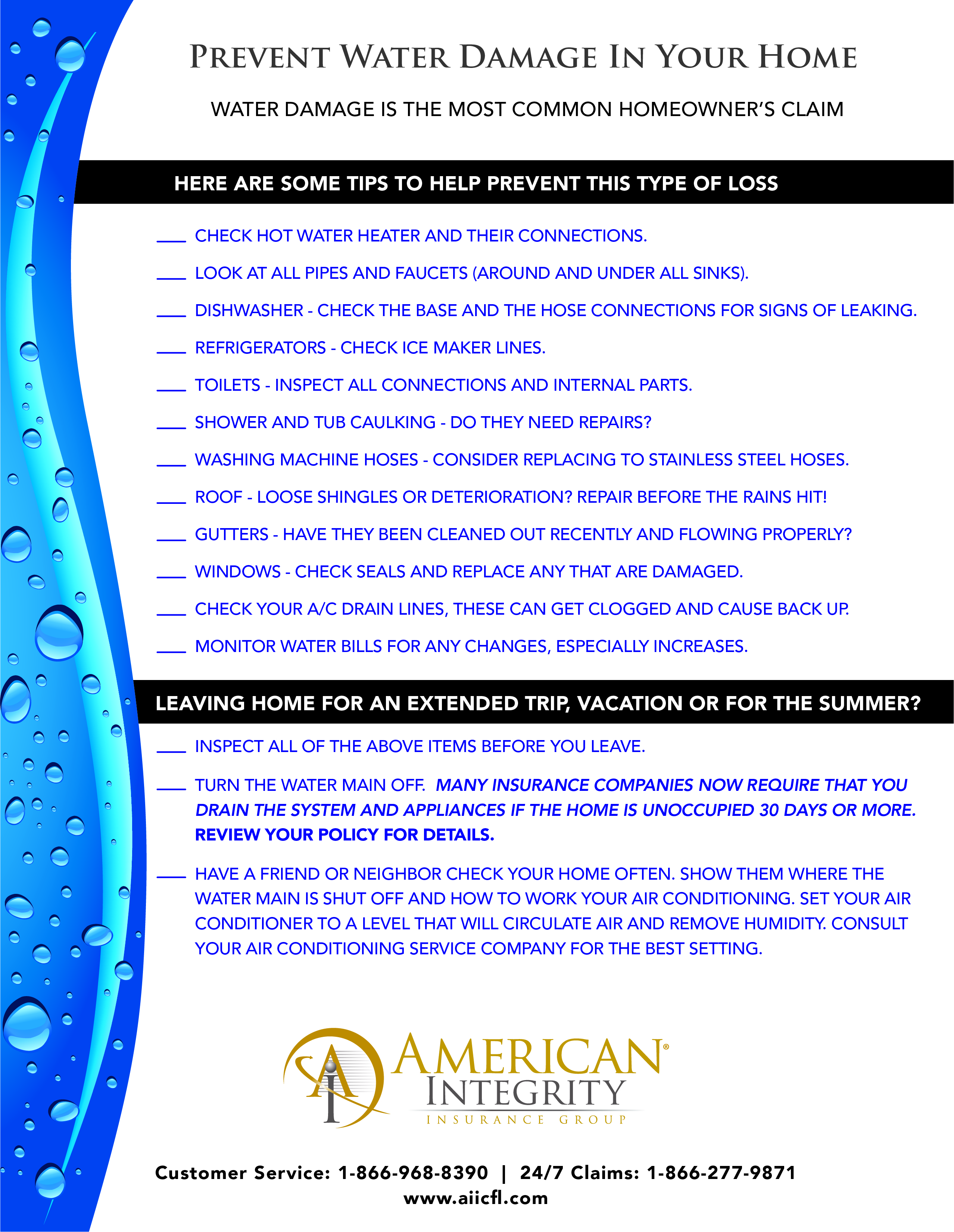 AIIC-Water Damage Check-List