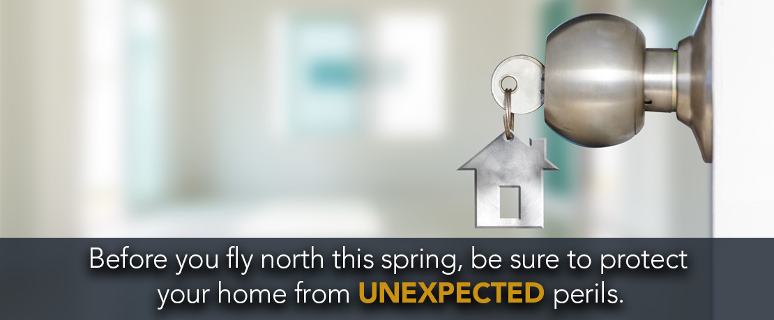 BLOG_Before you fly north this spring, be sure to protect your home from unexpected perils.